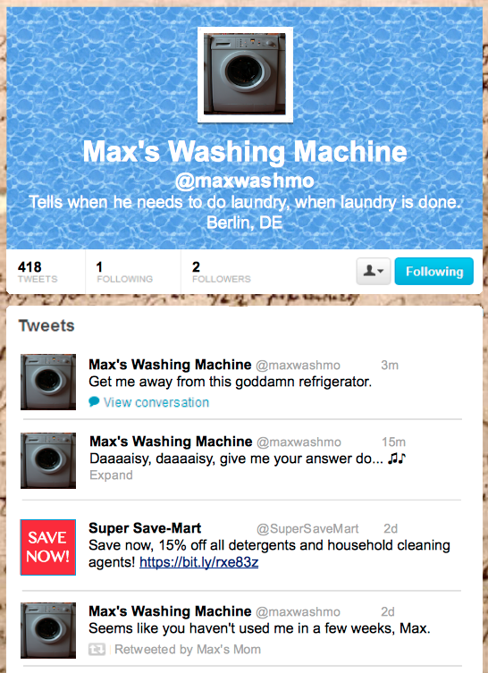 Picture of a hypothetical washing machine Twitter feed.