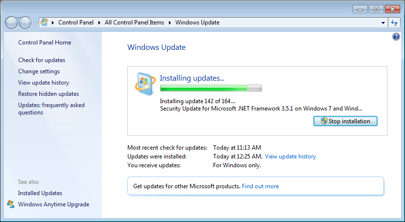 stop checking for updates windows 7
