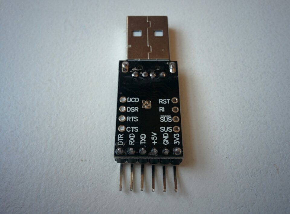SiLabs CP2102 (black PCB, rear)